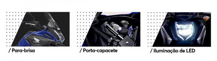 / Para-brisa - / Porta-capacete - / Iluminação de LED